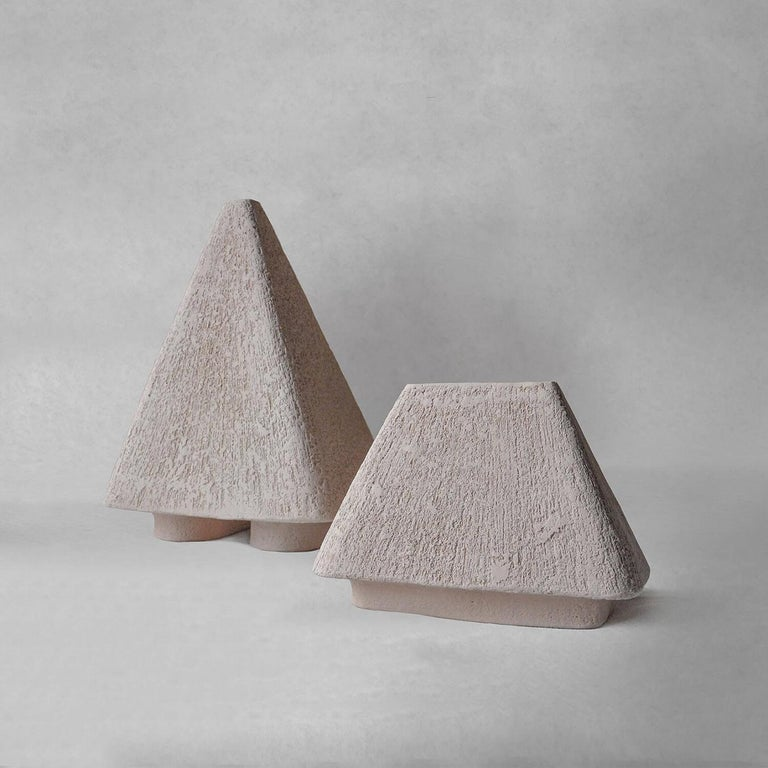 Organic Modern Sculpted Pair of Ceramic Vases by FAINA For Sale