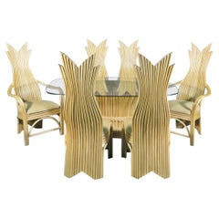 Sculpted Rattan Dining Table & Chairs