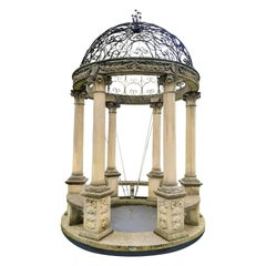 Sculpted Rotonda or Garden Gloriette in Classical Style with a Wrought Iron Top