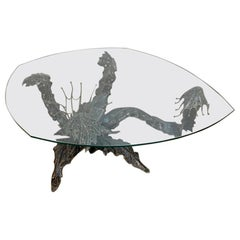 Sculpted Seaweed Bronze Finish Coffee Table