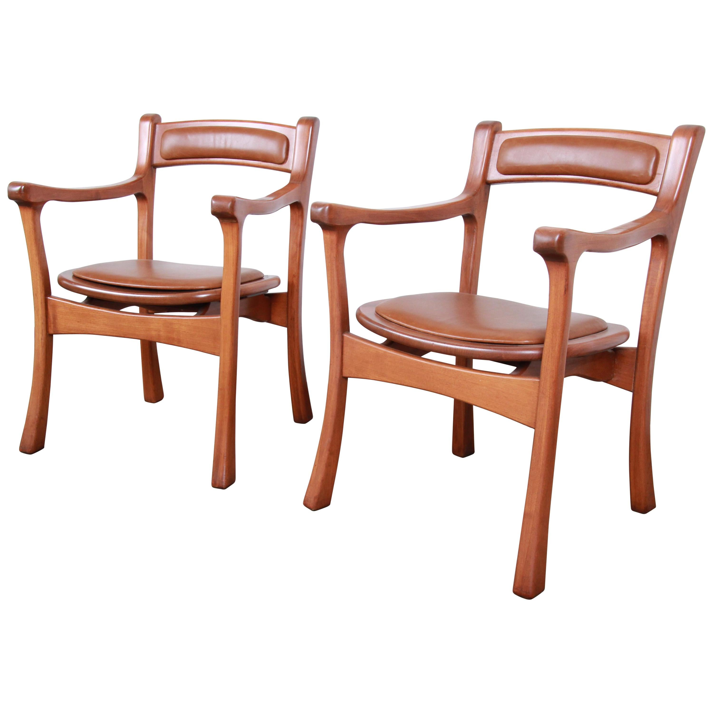 Sculpted Solid Teak and Leather Studio Crafted Club Chairs, circa 1960s