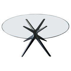 Sculpted Star Base Dining Table with Floating Glass Top, circa 1970