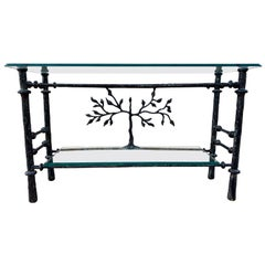 Sculpted Steel and Glass Two-Tiered Console Table