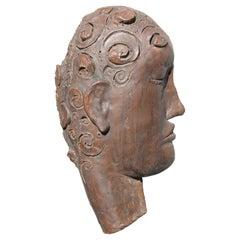 Sculpted Stoneware Face Sculpture