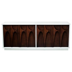 Sculpted Two-Toned Brasilia Walnut Credenza by Broyhill