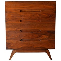 Sculpted Walnut 5-Drawer Chest or Highboy, circa 1965