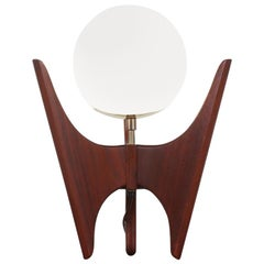 Sculpted Walnut Table Lamp by Danish Modern LA