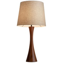 Sculpted Walnut Table Lamp
