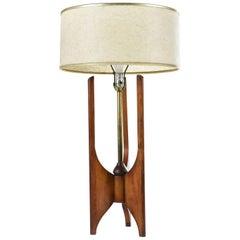 Sculpted Walnut with Brass Rod Modeline Style Mid-Century Modern Lamp