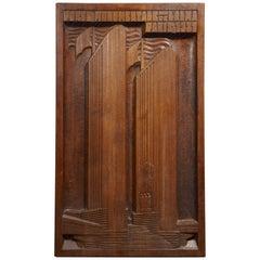 """Sculpted Wood """"Porte monumentale de l'Alma Paris"""" Panel by Ernest Morenon, 1937"""