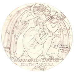 """""""Sculptor's Medal,"""" Art Deco Drawing of Nude, Bearded Sculptor and Goddess Diana"""
