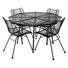 Sculptura Outdoor Dining Table with Four Chairs by Russel Woodard, Restored