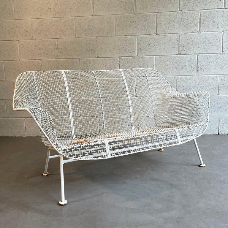 Mid-Century Modern, outdoor, patio, powder-coated, steel mesh and wrought iron loveseat sofa by Russell Woodard, Sculptura.