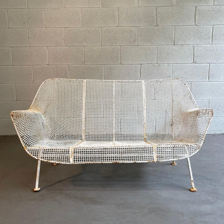 Mid-Century Modern, outdoor, patio, powder-coated, steel mesh and wrought iron loveseat sofa by Russell Woodard, Sculptura with original cushions.