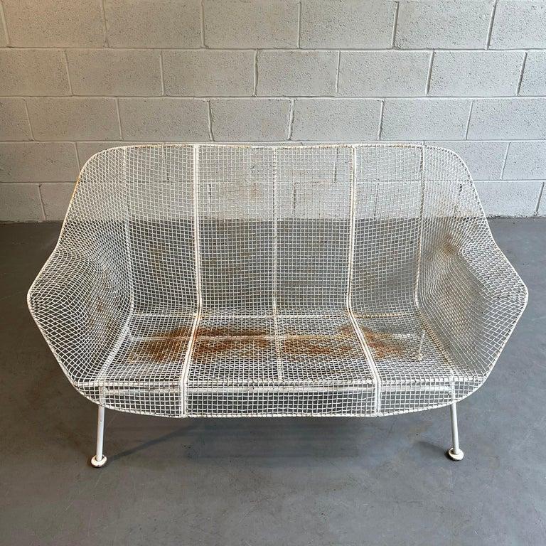 Steel Sculptura Patio Loveseat Sofa by Russell Woodard For Sale
