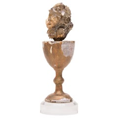 Sculptural 18th Century Chalice with Calcite Crystals in Sphalerite on Lucite