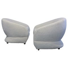 Sculptural 1970s  Lounge Chairs in Boucle