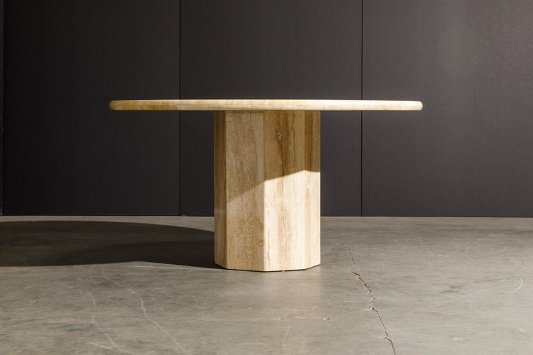 Such a stunning and large sized Travertine dining table, circa 1980s, and is a large 55