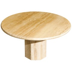 "Sculptural 55"" Diameter Travertine Dining Table, 1980s"