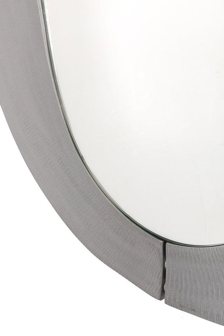 Italian Sculptural Aluminum Framed Mirror by Artist Lorenzo Burchiellaro, Italy, 1970s For Sale