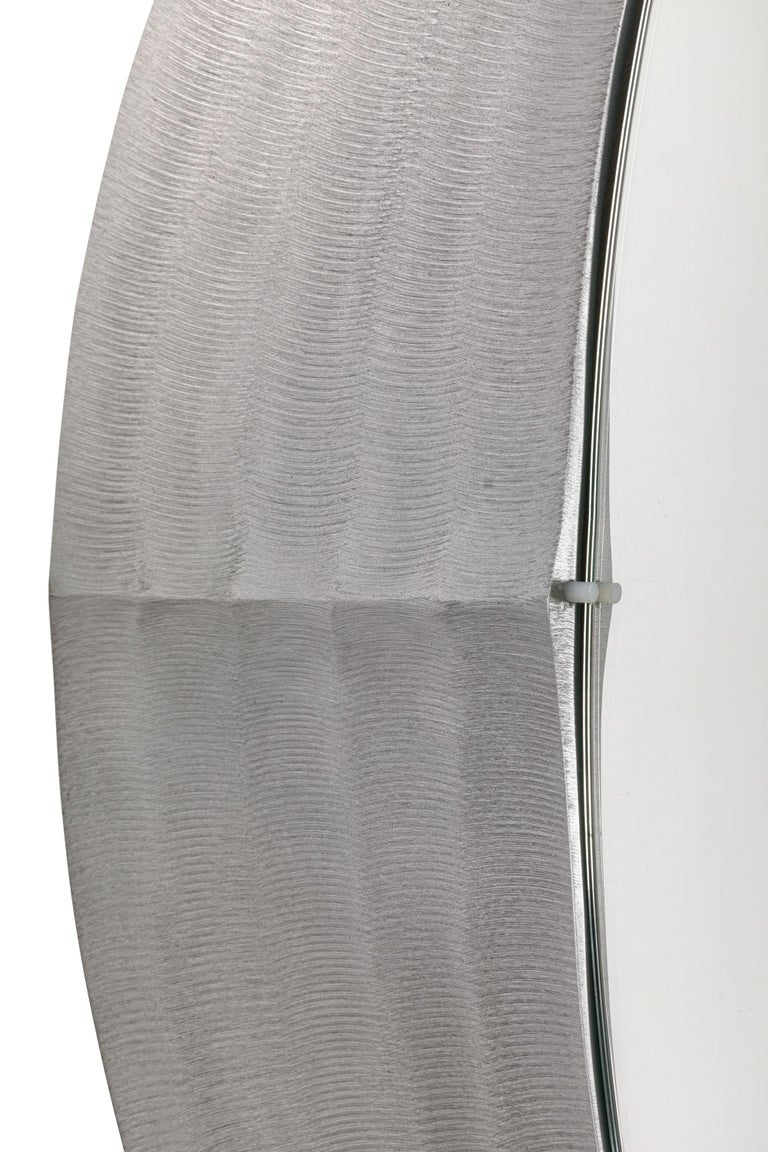 Sculptural Aluminum Framed Mirror by Artist Lorenzo Burchiellaro, Italy, 1970s In Excellent Condition For Sale In New York, NY