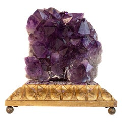 Sculptural Amethyst with Baroque Pearls on an 18th Century Italian Altar Base