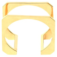 Sculptural and Architectural Gold Plated Modernist Cuff Bracelet