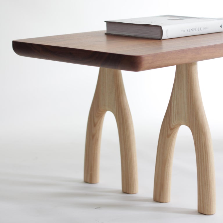 American Mezcal, Asymmetrical Rectangle Walnut and Ash Coffee Table by SinCa Design For Sale