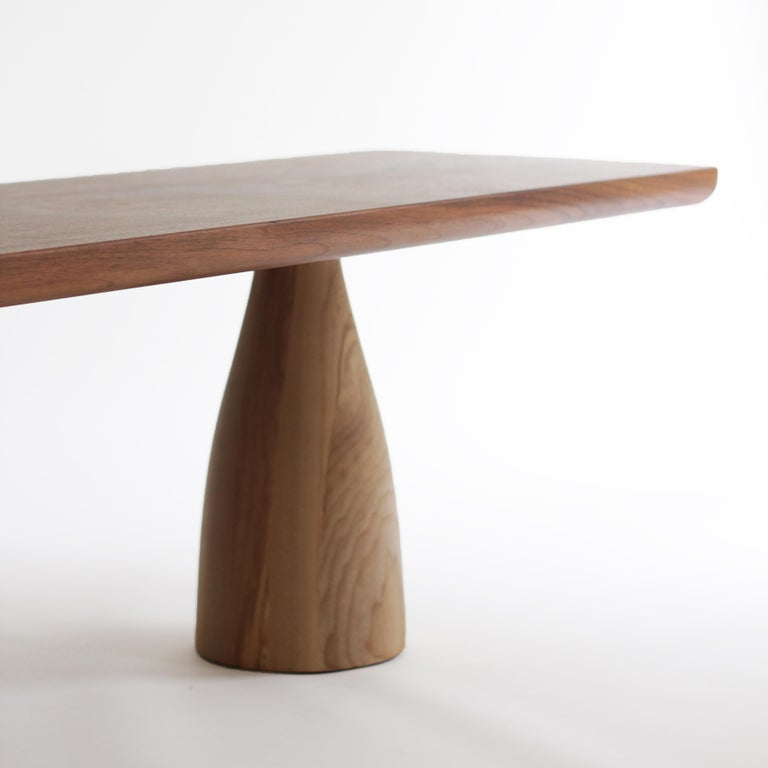 Turned Mezcal, Asymmetrical Rectangle Walnut and Ash Coffee Table by SinCa Design For Sale