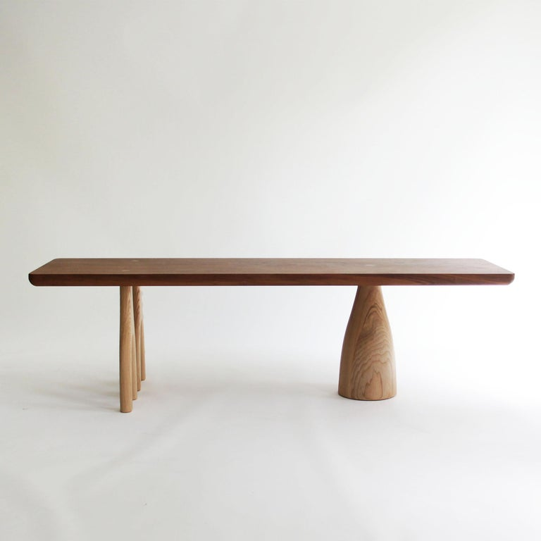 Mezcal, Asymmetrical Rectangle Walnut and Ash Coffee Table by SinCa Design In New Condition For Sale In Tolland, CT