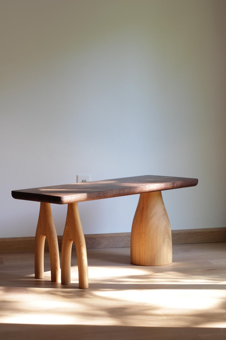 Contemporary Mezcal, Asymmetrical Rectangle Walnut and Ash Coffee Table by SinCa Design For Sale