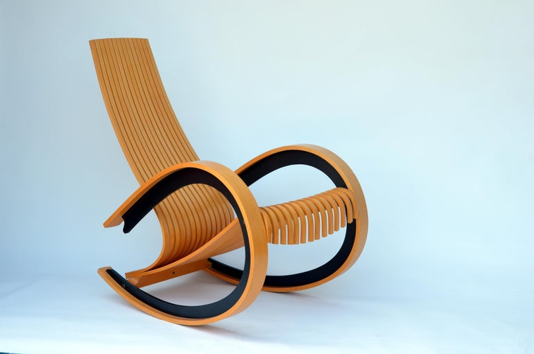 Danish Sculptural and Comfortable Scandinavian Birch Rocking Chair For Sale