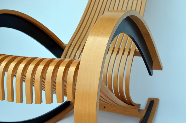 Molded Sculptural and Comfortable Scandinavian Birch Rocking Chair For Sale