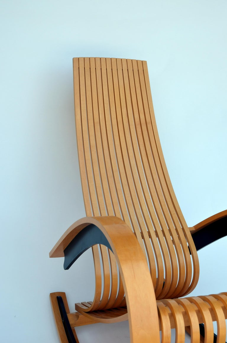 Sculptural and Comfortable Scandinavian Birch Rocking Chair In Excellent Condition For Sale In Los Angeles, CA