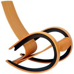 Sculptural and Comfortable Scandinavian Birch Rocking Chair