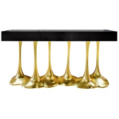 """Sculptural and Luxurious """"Argos"""" Futuristic Console Table in Black and Gold"""