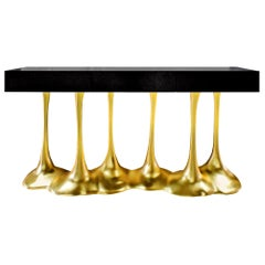 "Sculptural and Luxurious ""Argos"" Futuristic Console Table in Black and Gold"