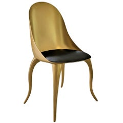 """Sculptural and Luxurious """"Star"""" Futuristic Organic Gilt Dining and Living Chair"""