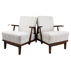 Sculptural Armchairs in Oak and Reupholstered Fabric, France, 1950s
