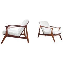 Sculptural Arne Hovmand Olsen Lounge Chairs for Mogens Kold, Denmark, 1954