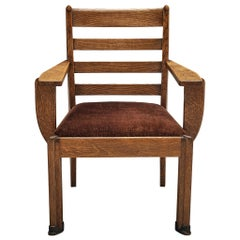 Sculptural Art Deco Chair in Stained Oak
