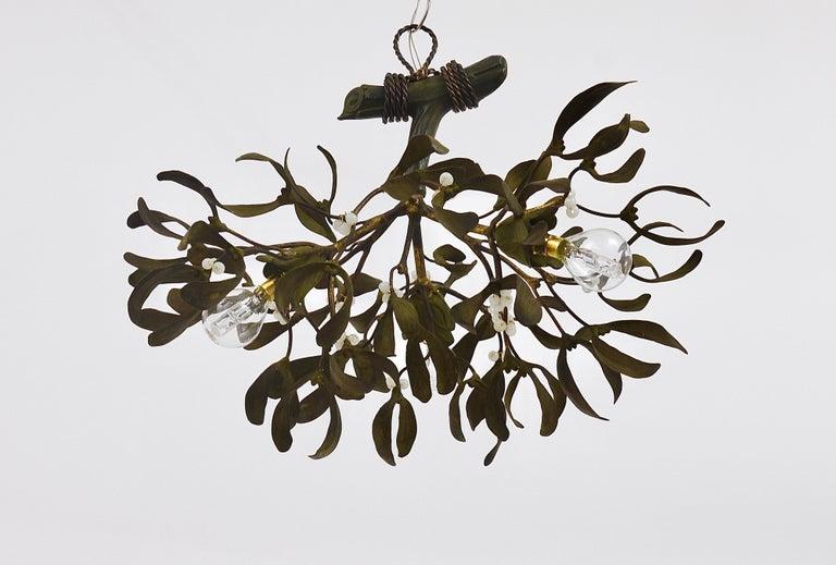 Sculptural Art Nouveau Mistletoe Bronze Chandelier, France, 1920s For Sale 5