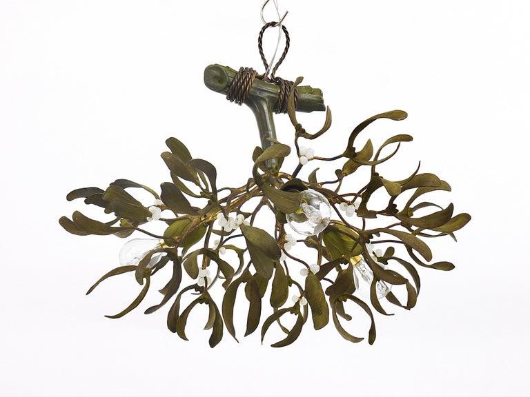 Sculptural Art Nouveau Mistletoe Bronze Chandelier, France, 1920s For Sale 7
