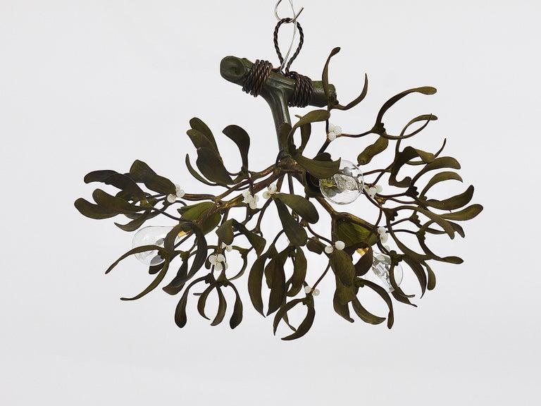 Sculptural Art Nouveau Mistletoe Bronze Chandelier, France, 1920s For Sale 8