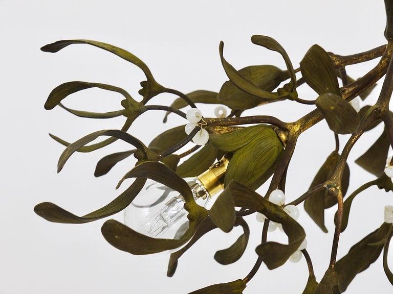 Sculptural Art Nouveau Mistletoe Bronze Chandelier, France, 1920s For Sale 10