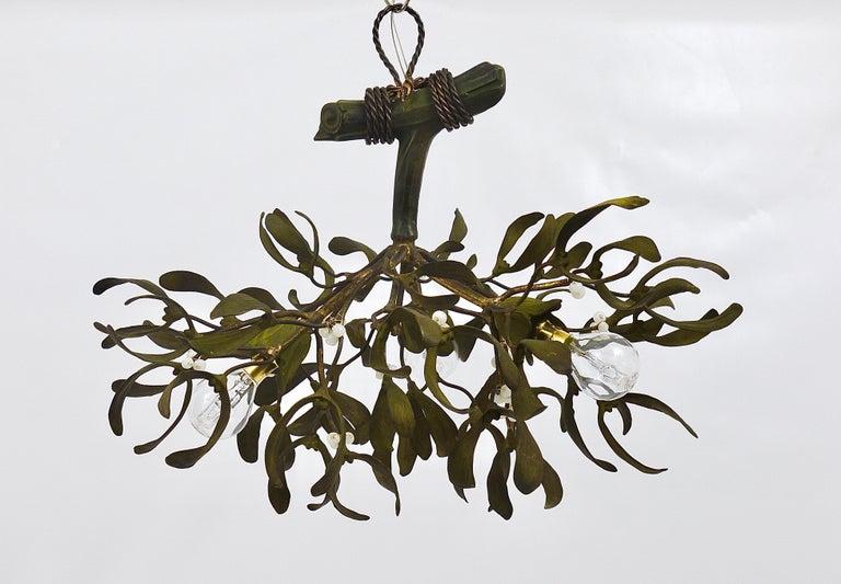 French Sculptural Art Nouveau Mistletoe Bronze Chandelier, France, 1920s For Sale