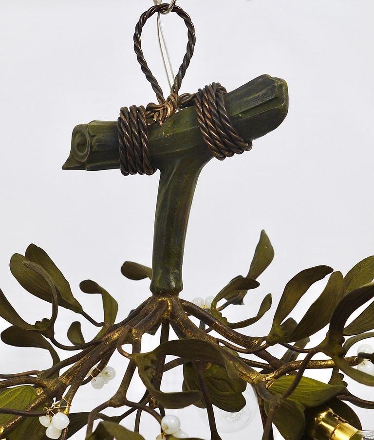 Hand-Painted Sculptural Art Nouveau Mistletoe Bronze Chandelier, France, 1920s For Sale