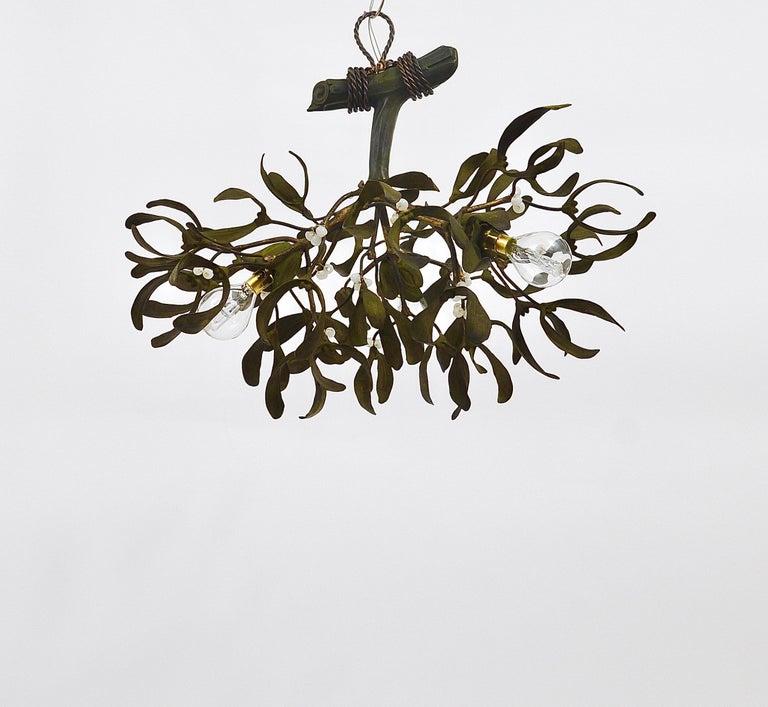 Sculptural Art Nouveau Mistletoe Bronze Chandelier, France, 1920s In Good Condition For Sale In Vienna, AT