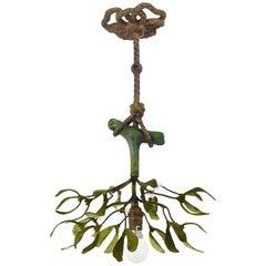 Sculptural Art Nouveau Mistletoe Bronze Chandelier, France, 1920s