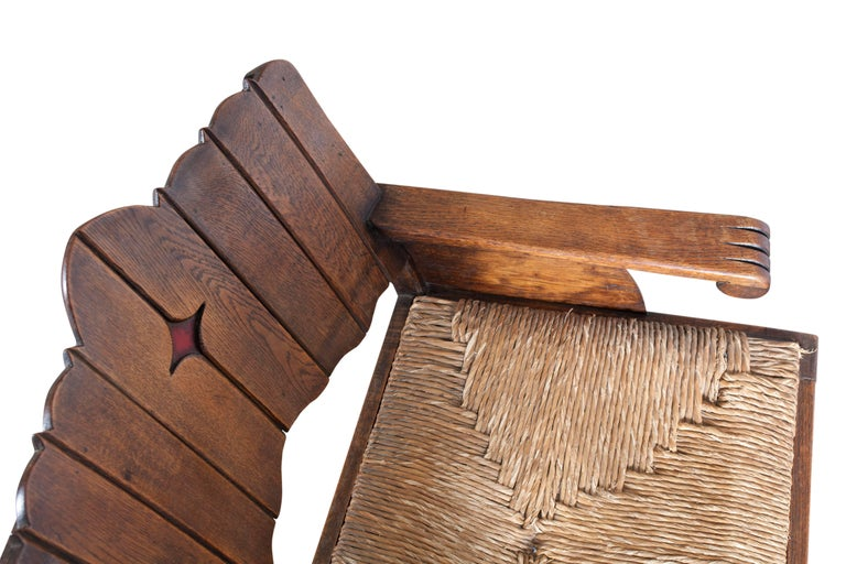 Rattan Sculptural Arts & Crafts Armchair in Oak For Sale
